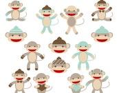 Sock Monkey Clipart - Blue - Instant Download