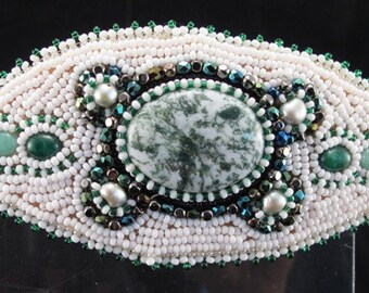 Barrette-Tree agate cabochon- pearls- seed beads-adventurine cabs-bead embroidered-hair accessory-natural stone-whites and greens