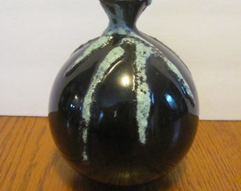 Vintage Mid Century Modern Bud Vase Fat Lava Glaze Aqua Black