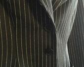 Black & Silver Lurex Pinstripe Disco Era Pantsuit ~ Blazer,Jacket and High Waist Pants by Lorch