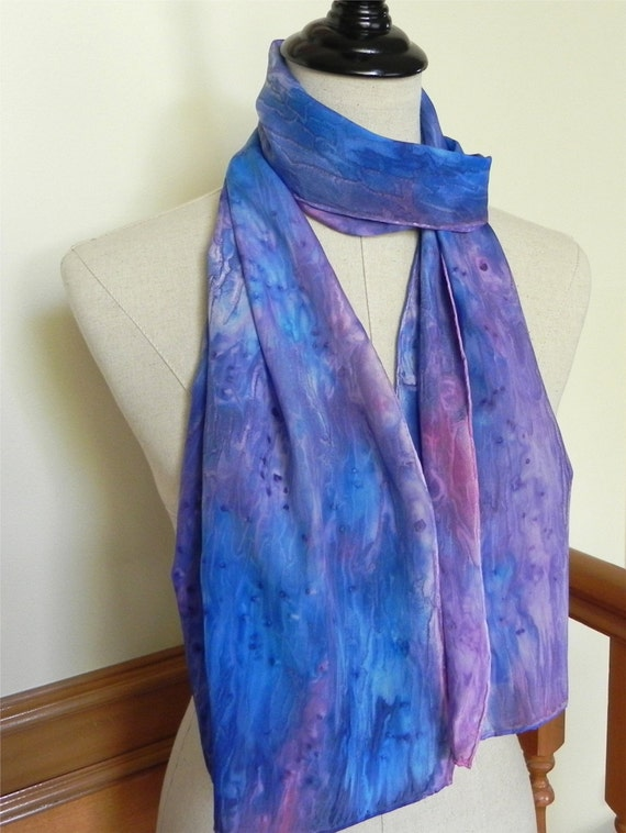 Hand painted silk scarf in jewel tones of blue, violet and rose, ready to ship, crepe silk scarf #449