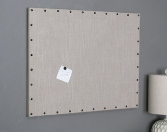 "Grey Burlap Cork Board with Decorative Black Tacks 22"" x 28"""
