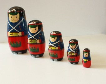 Russian Nesting Soldier Dolls Set of five