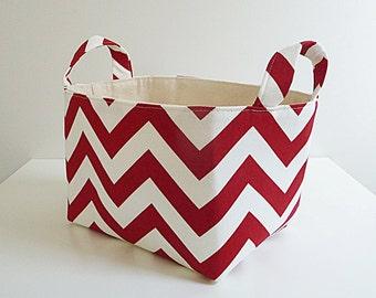 Chevron Storage Fabric Organizer in Red Zig Zag - Home Storage - Gift Basket - Hostess Gift