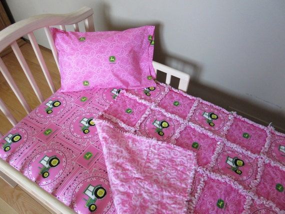 Bright Pink TRACTOR John Deere Fabric Crib Bedding Baby Or