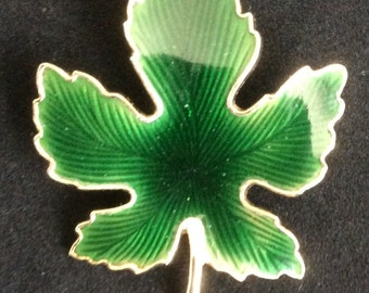 Enameled Leaf Brooch