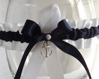Anchor Charm - Something Blue Wedding Garter Belt - Tossing Garter - One Size - Plus Size