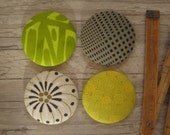 4 Extra Large Fabric Buttons - Size 75 ( 1 7/8inch- 48mm) - Covered buttons - Lime green buttons - Sewing buttons-