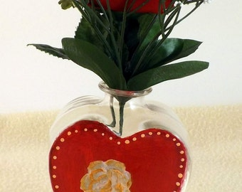 Heart Rose Hand Painted Vase