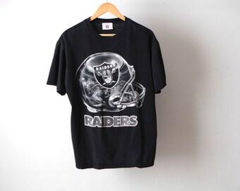 oakland LA RAIDERS football 80s black silver black SLOUCHY t-shirt
