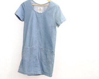 90s blue DENIM oxford JUMPER mini dress light blue JEAN dress smock pullover denim dress mid 90s
