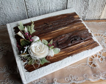 Wooden scrapbook, Wood wedding guest book, Wooden album, Wooden guest book, Rustic chic guestbook, Wedding rustic album, Scrapbooking