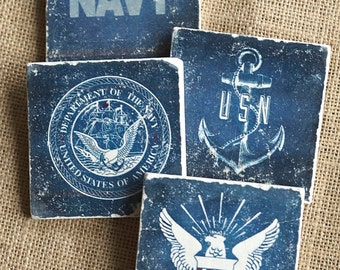 US Navy- Navy Gift, Military Gift, Navy Decor, Armed Service, Coaster,  Military Decor, Navy Coaster, Man Cave,