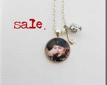 Pop Art Necklace--Madonna--Material Girl--Music--Rock & Roll--80s--Rock Fan--Alternative Jewelry--Repurposed--Musician Gift--Madonna Fan