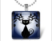 10% OFF VALENTINE SALE : Spooky Black Cat Halloween Kitty Cat Glass Tile Pendant Necklace Keyring