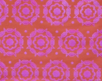 Vintage Tie-Tie Bright PINK Flocked CHRISTMAS Gift Wrap - Wrapping Paper - MOD Snowflakes - 1960s