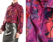 Vintage Purple Violet Blouse Button Down Long Sleeve Soft Avant Garde Abstract Blouse 80s Funky / Womens Size Medium Oversized
