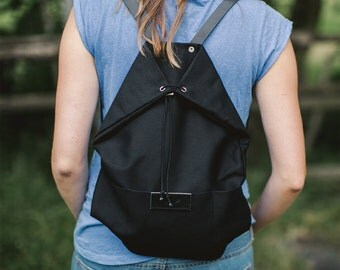 Black cotton backpack KOALA / natural leather handles / perfect for picnic, walking and bicycle trips