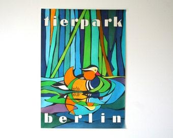 Original Berlin Tierpark Zoo  Advertising Poster- (GDR/East Germany/DDR) 1983 - duck design (P116)