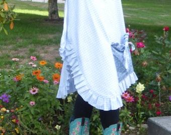 Long Muslin Pinafore Apron - Cross Over Back - Large Pockets - Ruffles - Lined - Plus Sizes - Great Gift Idea - Garden Apron - Custom