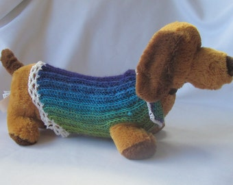 XS-Long Hand crocheted Dog sweater in blues purples greens browns dachsund chihuahua