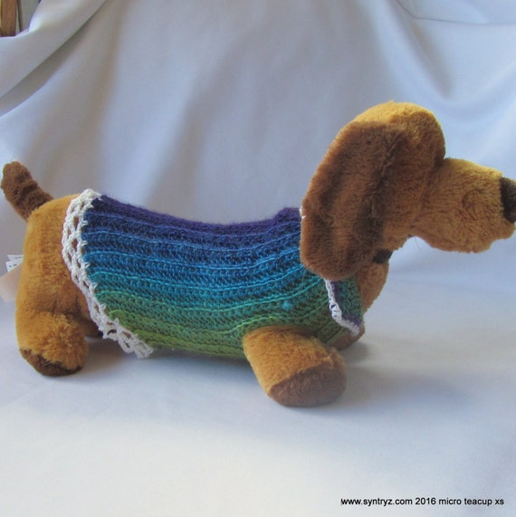 XS-Long Dachsund Dog sweater Hand crocheted in blues purples greens ...