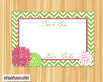 40 & Fabulous Thank You Card | Green and Pink Flowers Thank You Card | Bridal Shower Thank You Card | Baby Shower Thank You Card