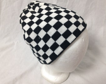 black and white checkered beanie