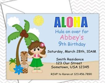 Luau Girl Invitations PRINTABLE - Birthday Party - Baby Shower