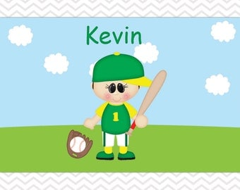 Customized Baseball Boy Placemat - Personalized Baseball Placemat for Boys - Baseball Double Sided Laminated Placemat for Kids
