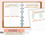 A5 HOME MANAGEMENT Kit - Printable Planner Inserts - Flora Theme - 13 sheets