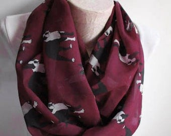 Boston Terrier Boston Terrier Scarf Dog Scarf Infinity Scarf Animal Scarf Women Fashion Accessories Gift Ideas for Her