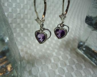 Heart Cut Amethyst Backset Leverback Dangle Earrings in Sterling Silver   1839