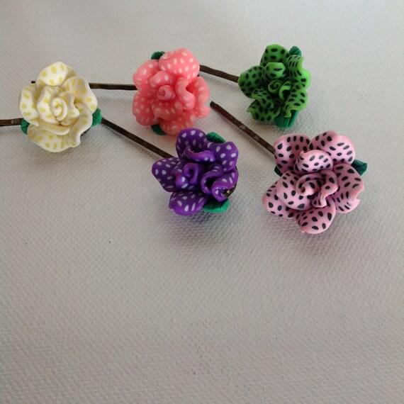 HAIRPIECES, BOBBIE PINS, Polka Dot Flower Bobbie Pins /5 Bobbie Pins