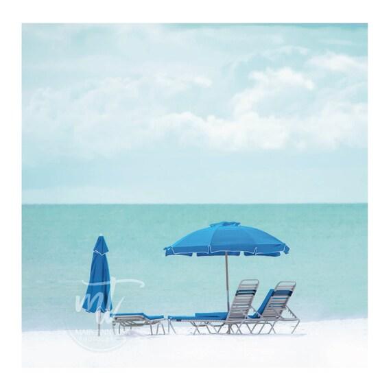 Single Beach Umbrella on Beach with Chairs, Blue Water, Sky and Umbrella, Seagrove Beach, Florida, 30A
