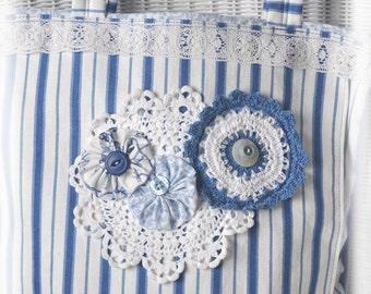 JOY! Tote, Vintage inspired Blue & White Bag Tote, Carry all Tote, Shoulder bag, Vintage Crochet, Pocket, Cottage Chic, OOAK