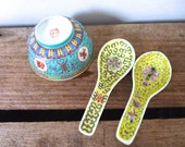 Single Vintage Hand Painted Chinese Ceramic Rice Bowl -  Asian Rice Bowl, Two Spoons, Yellow China Spoons,