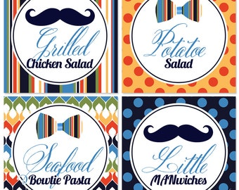 Little Man / Mustache Buffet Labels -You Print- Little Man Party | Mustache Party | Mustache Bash | Party Favors | Labels | Food Labels
