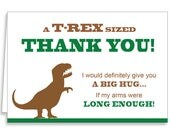 Guajolote Prints Thank You Notes 12 Cards & Envelopes T-Rex