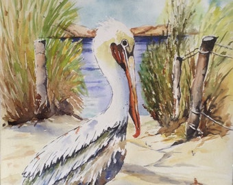 Pelican Original Watercolour Painting