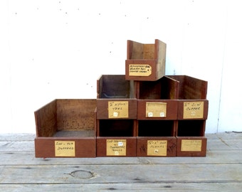 8 Antique Handmade General Store Parts Bins Storage Apothecary Drawer