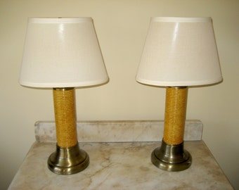 SALE - 1970's Wicker Rattan Table Lamps - Set of Two Vintage Console Lamps - Unique Accent Lamp Set - Retro Bedside End Table Lamps