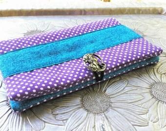Women's Wallet, Purple Polka dot Wallet, Clutch