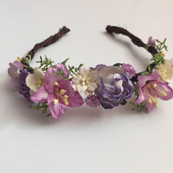 Flower Crown Purple: Purple Flower Crown...Flower Girl Crown...Bridal Flower