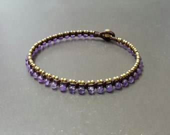 Amethyst Ball  Mini Brass  Anklet