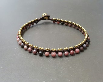 Rhodonite  Ball  Mini Brass  Anklet