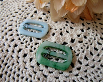Vintage MOP Shell Buckles Pale Blue and Green Small Vintage Buckles New Unused Mother of Pearl