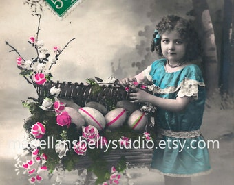 Easter Digital Download 1910's French RPPC  Pretty Young Girl With Basket of Easter Eggs  Joyeuses Paques