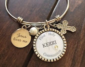 Personalized FIRST holy COMMUNION GIFT, childrens name daughter granddaughter niece present big sister religious catholic beautiful quote