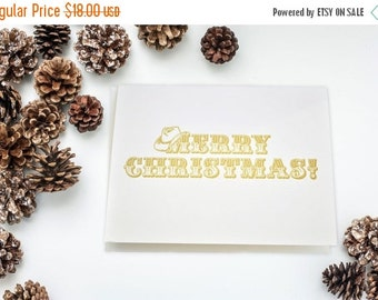 50% OFF Western Christmas letterpress card set, cowboy letterpress, letterpress christmas, gold letterpress, yee haw, country christmas